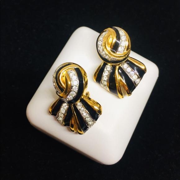 Vintage 80s gold tone octagonal rhinestones clip on earrings